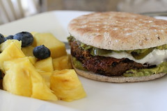 Guacamole Jalapeo Burger (Vegan Feast Catering) Tags: love avocado vegan burger pineapple peppers blackbeans blueberries jalapeo daiya
