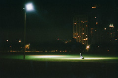 Alone in the Light (The Sillyman) Tags: street city friends light chicago film canon fuji ae1 superia happiness spot expired 800 expiramental