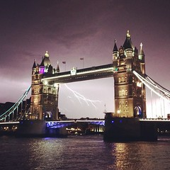 Lightning at Tower Bridge (londondan) Tags: london weather thames towerbridge square squareformat lightning rise iphoneography instagramapp