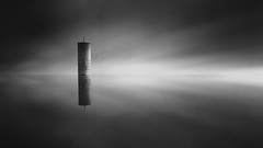Tower (Martin Mattocks (mjm383)) Tags: longexposure blackandwhite seascape tower water monochrome clouds reflections landscapes cornwall fineart smooth floating devon minimalistic canoneos5dmarkii mjm383 martinmattocksphotography