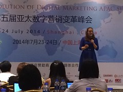 Sofie Sandell speaking in Shanghai China at the Social media marketing summit