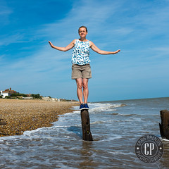Saffron, my lovely wife on her birthday, Cooden (craig_prentis) Tags: sea portrait beach female project sussex coast personal groyne balancing saffron breakwater prentis cooden portrait365 craigprentisphotography fujix100s