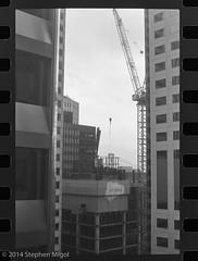 Vertical City (S Migol) Tags: sanfrancisco blackandwhite film monochrome analog buildings pentax trix 135 greyscale iso320 pentaxlx smigol xtol13 smcpk50mmf12 stephenmigol copyright2014
