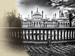 Brighton Pavilion, out of time (pj_warlock) Tags: blackandwhite bw white black wall sepia four shadows gimp micro third olympos omd brightonpavilion em5 micro43 microfourthirds