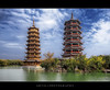 The Sun & Moon Twin Pagodas In Guilin, Guangxi, China :: HDR (:: Artie | Photography :: Travel ~ Oct) Tags: china sun moon lake architecture photoshop canon guilin chinese twin engineering wideangle structure copper marble ef 1740mm f4 hdr attraction pagodas artie cs3 3xp photomatix tonemapping tonemap shanlake shanhu 5dmarkii 5dm2 sunandmoontwinpagodas