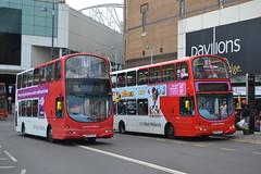 National Express West Midlands 4675 BX54XPV & 4709 BU06CXC (Will Swain) Tags: street uk travel england west birmingham britain transport july national express moor midlands 22nd 2014 4709 4675 bu06cxc bx54xpv
