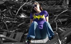 Beauty in the Debris [Explored #73 9/1/14] (Keltron_) Tags: cute girl smile model pretty batgirl brunette neysa batmanlogo diamondintherough girlwithglasses tonyknowlescoastaltrail