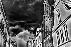 can you smell the rain? (paddy_bb) Tags: travel bw cloud sun facade germany deutschland cityscape lübeck schleswigholstein hansestadt 2014 hüxstrasse nikond5300 paddybb