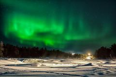 Aurora Dancing Above Inari (Kristin Repsher) Tags: longexposure snow night finland river nikon inari aurora lapland northernlights auroraborealis finnishlapland northernfinland d700 hotelkultahovi