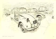L'Atelier de Jojo (lolo wagner) Tags: car sketch citroën voiture workshop 2cv atelier croquis