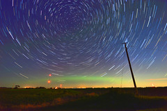 Northern Lights Star Trail (NDSUG0GR33N) Tags: blue light color green tower beautiful america radio dark lens stars lights star amazing nikon glow darkness angle telephone towers north wide tracks trails pole trail aurora midnight glowing poles dakota borealis polaris d3200