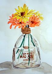 Still life with bottle and flowers, by Las - DSC09798 (Dona Mincia) Tags: stilllife flower art watercolor painting paper bottle arte flor study gerbera garrafa pintura naturezamorta