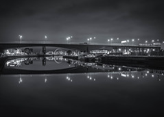 Motorway (rgcxyz35) Tags: lights m8 clydearc blackwhitephotography scotland river riverclyde reflections theferry bw longexposure glasgow clouds