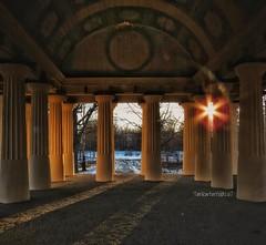 From inside. The Greek Temple, Söderfors, Sweden (Tankartartid) Tags: sweden sunset sun greektemple temple