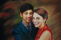 Tommy and Rosemary (SkylerBrown) Tags: tommylee rosemarylee art artwork asian beautiful caucasian coloredpencil drawing happy interracial love marriage portrait pretty smile sweet sacramento originalart