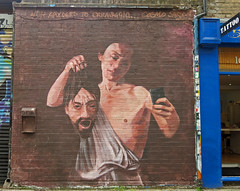 Cosmo Sarson - With Apologies To Caravaggio (cocabeenslinky) Tags: street city uk england urban streetart london art june canon photography graffiti artist power with shot photos united capital kingdom powershot east to graff cosmo caravaggio apologies eastend artiste sarson 2014 g15 ©cocabeenslinky