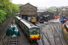 Empty to Depot (McTumshie) Tags: england yard train diesel unitedkingdom yorkshire railway loco steam locomotive haworth kwvr dmu queensbury keighleyworthvalleyrailway class101 sc51803 m51189 lcoomotiveworks