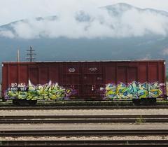 ASPEKT, ECKS (YardJock) Tags: railroad graffiti spraypaint boxcar piece freighttrain benching paintedsteel benchreport