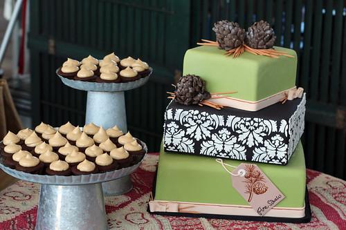 Damask and Pinecone Winter Wedding Cake