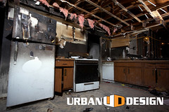 House Fire Series (urbandesignchico) Tags: broken warning fire unsafe junk accident dirty safety stained stove burnt refridgerator pile disaster caution series damaged arson cabinets angled appliances housefire ruined rafters homeinterior badcondition