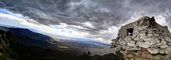 Climb Sandia Mountains (JoelDeluxe) Tags: autostitch panorama mountains newmexico clouds climb cabin nm joeldeluxe hiccup sandia