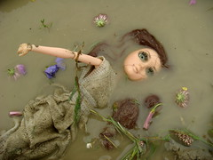 Ophelia's Dead (Medithanera) Tags: flowers brown green water hair dead death pain eyes doll solitude acrylic loneliness lashes mud suicide auburn dirty corpse leigh mga moxie murdered hamlet drowned teenz sheakspeare hamnet