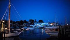 Camden Harbor at Night (romanboed) Tags: leica blue summer usa boats evening harbor sailing camden ships maine m summicron hour sail f2 28 yachts sailboats asph 240