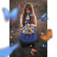 (elenadelpalacio) Tags: madrid blue orange girl azul photoshop butterfly nice spain chica dress redhead campo mariposa naranja pelirroja vestido elenadelpalacio elenapalace