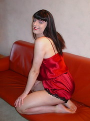 Smile (Paula Satijn) Tags: red sexy girl smile shiny teddy silk tgirl tranny transvestite satin gurl playsuit