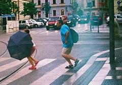 Lomo 135VS - Crosswalk in Rainy Day (Kojotisko) Tags: street city people streets person lomo czech superia streetphotography brno cc creativecommons vintagecamera czechrepublic streetphoto persons superia800 lomo135vs 135 fujifilmsuperiasx800 superiasx800