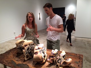 Artist Sara Catapano with Grant Taylor at the UM gallery and her ceramics Group exhibition
