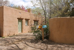 Street  With Spirit (Esther Spektor - Thanks for 5 millions views..) Tags: road street door city travel trees sky sunlight house newmexico santafe color building window leaves wall clouds mailbox spring rocks shadows availablelight foliage adobe daytime