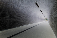 Inverted Tunnel (foto Neil Hinde) Tags: blackandwhite subway vanishingpoint path tunnel walkway inverted walkthisway
