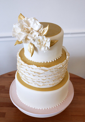 Metallic Gold Blush Pink Ruffle Wedding Cake