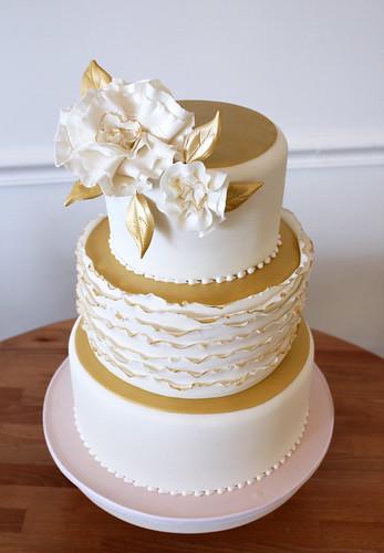 Metallic Gold Blush Pink Ruffle Wedding Cake