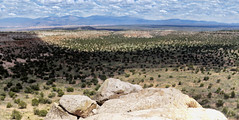 End of Tsankawi Mesa (fj40troutbum) Tags: mountains newmexico southwest clouds landscape desert highdesert whiterock losalamos shallowdepthoffield canon85mmf18 tsankawi westernus landofenchantment northernnewmexico gregholland newmexicosky bokehpanorama brenizermethod