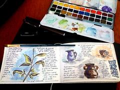 Art journal 12-09-14 (Marsia Bramucci) Tags: art fountain pen writing watercolor painting sketch drawing journal sketchbook brush parker journaling winsornewton unipin