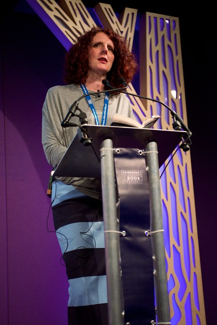 Maggie O Farrell on stage at the Edinburgh International Book Festival
