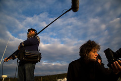 Documentary film crew members Albert Lionais, location sound, Jacky Mills, director, and Norma Jean MacPhee, first assistant director. (photo: Steve Wadden)
