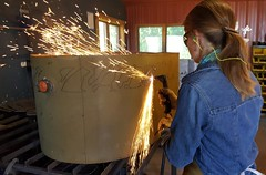 20160731_142526 (150hp) Tags: amanda dan plasma cutting hands art studio fish creek fuel oil tank upcycling fire pit ring handmade goldfish samsung galaxy note 5