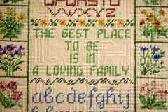 Stitching (yoshiffles) Tags: cy365 needlepoint sampler stitching thebestplacetobeisinalovingfamily