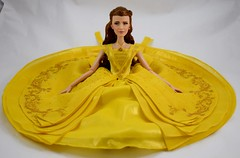 2017 Belle Limited Edition 17'' Doll - Live Action Film - US Disney Store Purchase - Deboxed - Sitting Down - Skirt Fully Expanded - Front View (drj1828) Tags: us disneystore purchase liveactionfilm limitededition belle ballgown yellow le5500 2017 deboxed