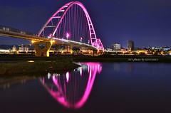 端午  新月  橋 (szintzhen) Tags: bridge reflection water taiwan 台灣 水 橋 大漢溪 倒映 新北市 newtaipeicity 新月橋