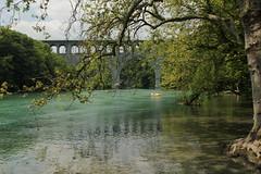 Schlauchboot ( Gummiboot ) auf der Rhne ( Fluss - River ) bei der Pont Butin ( Brcke - Strassenbrcke => Baujahr 1927 - Hhe 48m => Lnge 269m) im Kanton Genf - Genve in der Schweiz (chrchr_75) Tags: water juni river boot schweiz switzerland boat wasser suisse swiss rhne christoph svizzera fluss jolla canot dinghy bote rhone schlauchboot 2014 suissa 1406 jolle gummiboot sloep chrigu schlauchboote  chrchr hurni chrchr75 chriguhurni chriguhurnibluemailch gummiboote juni2014 albumrhne hurni140603 albumrhone albumschlauchbootegummibooteunterwegsinderschweiz albumrhneflussriver