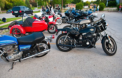 (Alexandra bandow) Tags: bike night vintage honda cafe motorcycles iowa des harley triumph bonneville moines racer