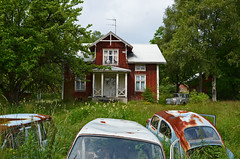 The old car Cemetery (saabrobz) Tags: cemetery car junk sweden ghost sverige junkyard scrapyard carcemetery bstns
