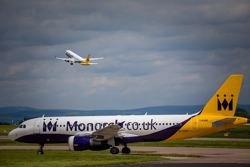 Two Monarch aircraft at Manchester Airport