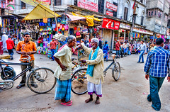 I am telling you (mbfirefly) Tags: people india streets square bikes varanasi conversation hdr onthestreets