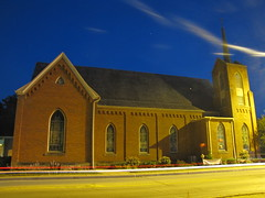Goshen Lutheran Church at night (tquist24) Tags: longexposure church architecture night canon geotagged lights indiana lighttrails bluehour lutheran goshen canonpowershotsx10is