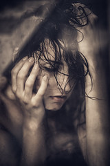 Hearing Damage... (unplugged - photography) Tags: barcelona portrait woman wet water girl beautiful face canon hair shower spain julia emotion damage frau dslr spanien haare 6d nass